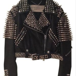 Burberry Brit Studded Motorcycle Leather Jacket